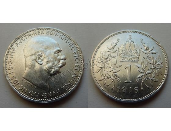 František Josef I. - stříbrná mince 1 koruna 1916