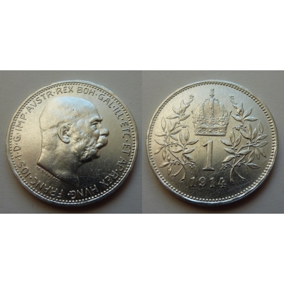 František Josef I. - stříbrná mince 1 koruna 1914