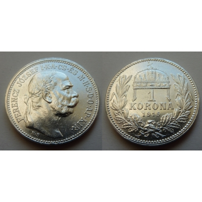 František Josef I. - stříbrná mince 1 koruna 1915 k.b.