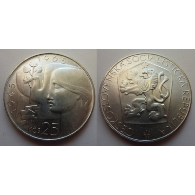 Tschechoslowakei - Münzen 25 Kronen, 1965, der 20. Jahrestag der Befreiung der Tschechoslowakei