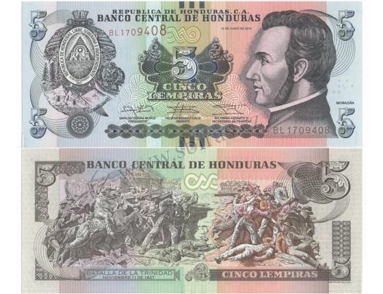 Honduras - banovka 5 Lempiras 2014 UNC