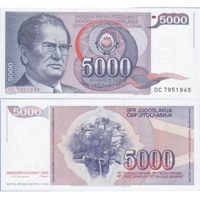 Jugoslávie - bankovka 5000 dinara 1985 UNC