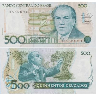 Brazílie - bankovka 500 Cruzeiros 1988 UNC