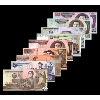 KLDR - sada 9 bankovek 1992-2007 1, 5, 10, 50, 100, 200, 500, 1000, 5000 won UNC