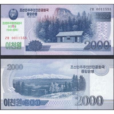 KLDR - bankovka 2000 Won 2018 UNC, 70. výročí vzniku