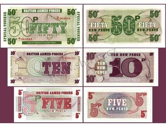 Velká Británie - sada armádních poukázek 5, 10, 50 pencí 1972 UNC