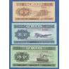 Čina - sada bankovek 1, 2, 5 Fen 1953 UNC