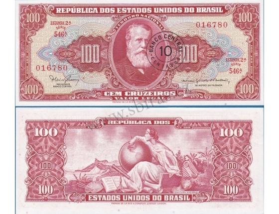 Brazílie - bankovka 100 Cruzeiros / přetisk 10 Centavos 1966 UNC