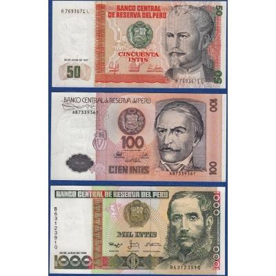 Peru - sada 3 bankovek 50, 100, 1000 intis UNC