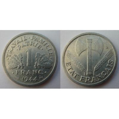 Francie - mince 1 Frank 1944 nacistická okupace Francie