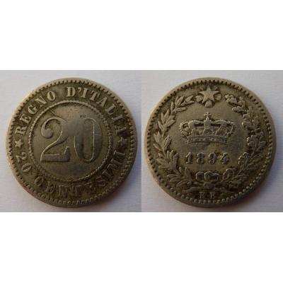 Italské království - 20 centesimi 1894 KB
