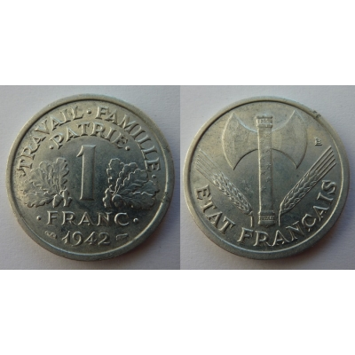 1 Frank 1942 Nazi occupation of France