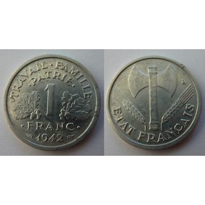 Francie - mince 1 Frank 1942 nacistická okupace Francie