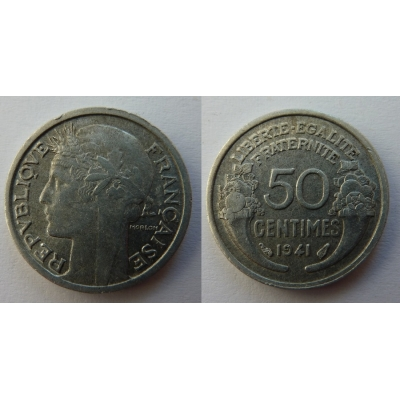 Francie - 50 centimes 1941, nacistická okupace Francie