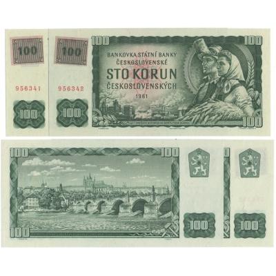 2x 100 korun 1961 UNC kolkovaná, po sobě jdoucí sériová čísla