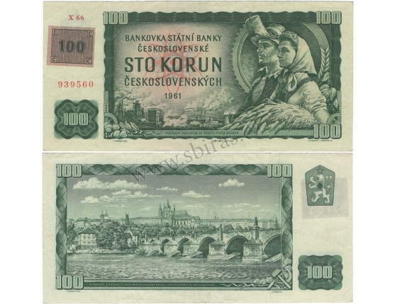 100 korun 1961 kolkovaná, série X