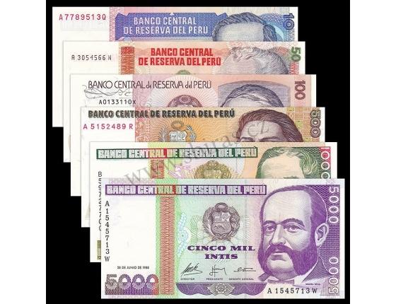 Peru - sada 6 bankovek 10,50,100,500,1000,5000 intis