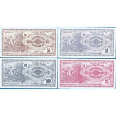 Makedonie - sada bankovek 10, 25, 50, 100 Denar 1992 UNC