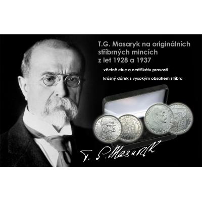 T.G. Masaryk na československých stříbrných míncích 1928 a 1937, uloženo v etui + certifikát pravosti