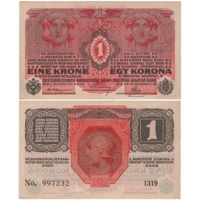 1 koruna 1916, série 1319 bez přetisku