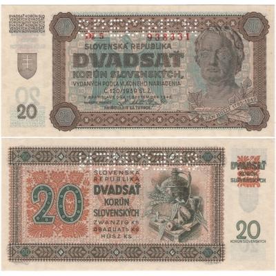 Slovenský štát - bankovka 20 korun 1942