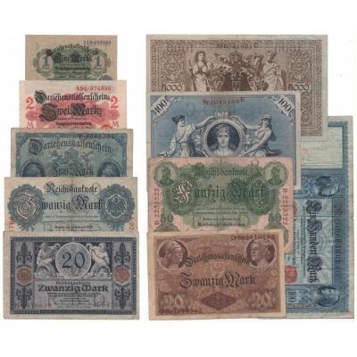 Německé císařství - sada 10 bankovek