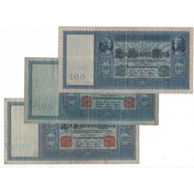Císařské Německo - 100 marek 1910, všechny 3 varianty - zelené pečetě, červené pečetě, modrý papír. Série E, F, G
