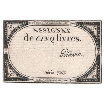 Banknote : Frankreich - 5 Livres 1793