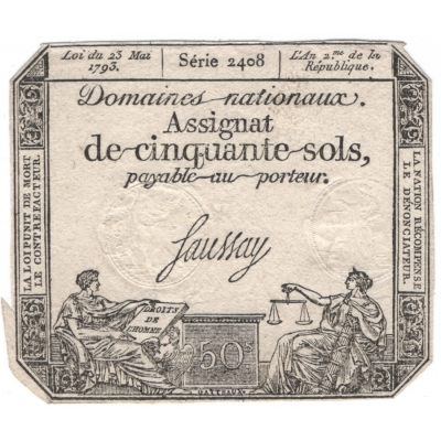 Banknote : Frankreich - 50 Sols 1793