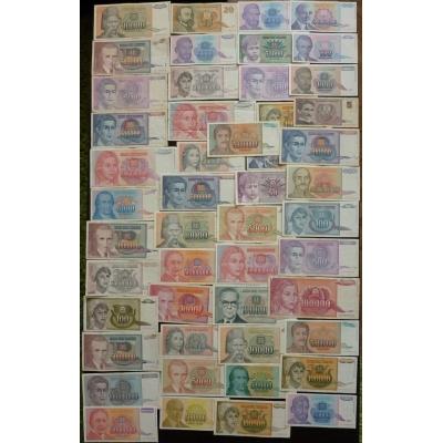 Jugoslávie - soubor 90 bankovek