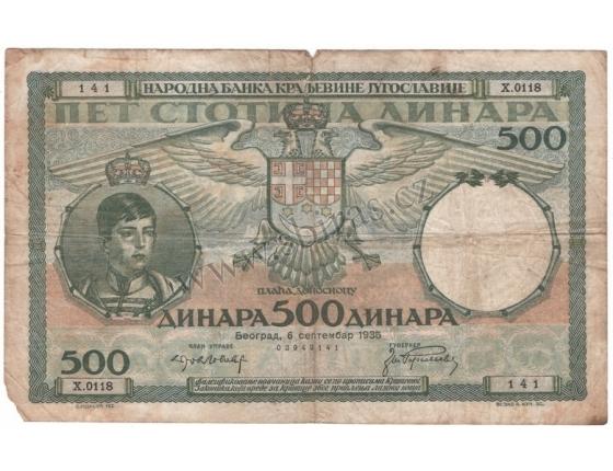 Jugoslávie - bankovka 500 dinara 1935