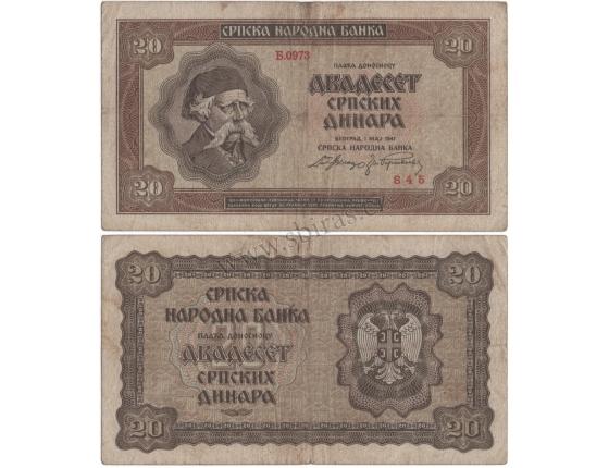 Srbsko - bankovka 20 dinara 1941, okupace nacistickým Německem