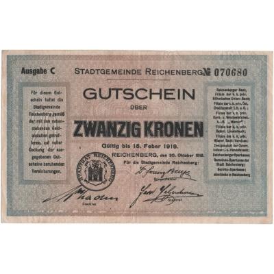 Československo - 20 korun, 15.2.1919, Reichenberg - Liberec