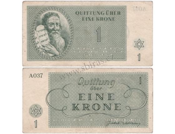 Terezínské gheto - bankovka 1 koruna 1943