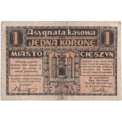 Polen - Cieszyn, Banknote 1 Krone 1919