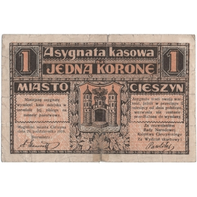 Československo/Polsko - Těšín, bankovka 1 koruna 1919