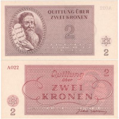 Terezínské gheto - 2 koruny 1943 UNC