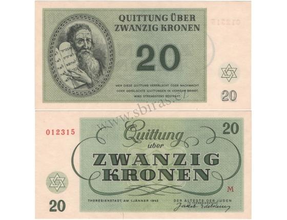 Terezínské gheto - 20 korun 1943 UNC