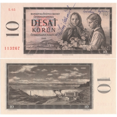 10 korun 1960 s originálními podpisy UNC