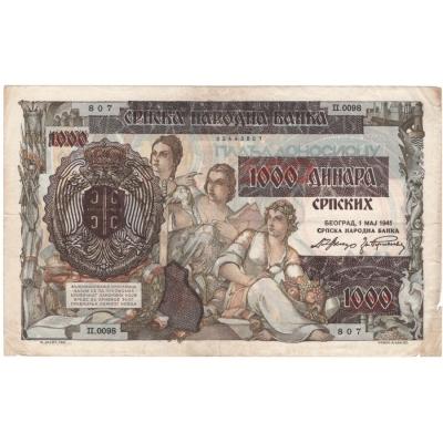 Srbsko - bankovka 1000 dinara, okupace Německem 1941
