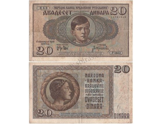 Jugoslávské království - bankovka 20 dinara 1936