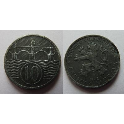 Protektorát Čechy a Morava - 10 haléřů 1942
