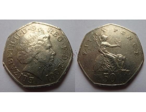 Velká Británie - 50 pencí 2001