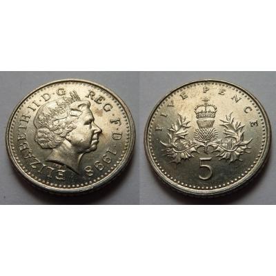 Velká Británie - 5 pencí 1998
