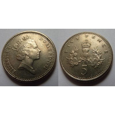 Velká Británie - 5 pencí 1991
