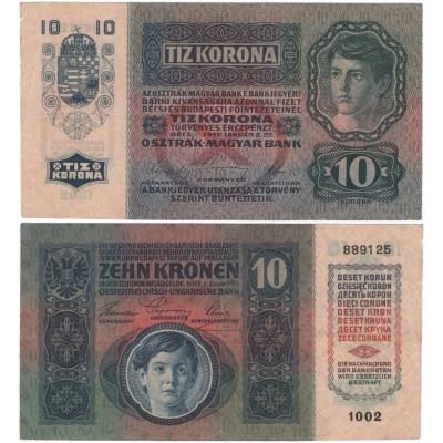 10 korun 1915, série 1002 bez přetisku