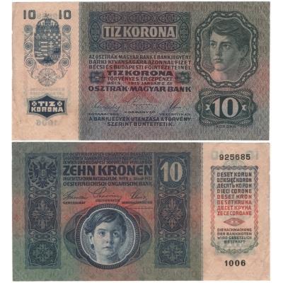 10 korun 1915, série 1006 bez přetisku