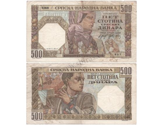 Srbsko, německá okupace - bankovka 500 dinara 1941