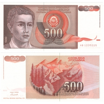 Jugoslávie - bankovka 500 dinara 1991 UNC