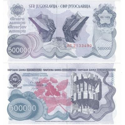 Jugoslávie - bankovka 500 000 dinara 1989 UNC
